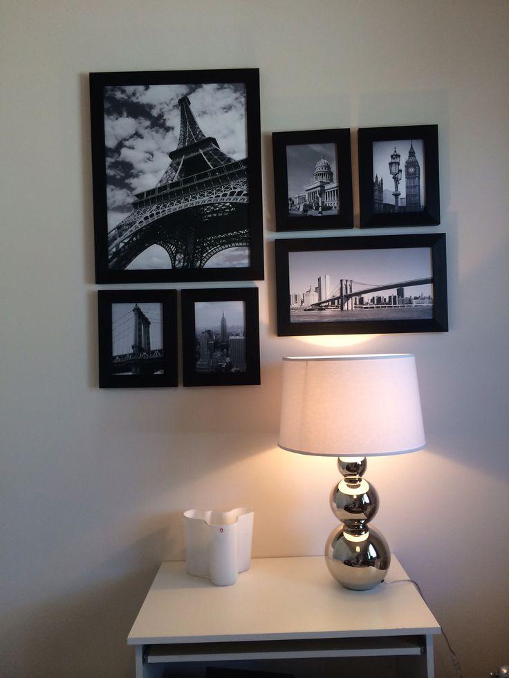 Photo wall, Pentik lamp and Iittala. Black and white, White home