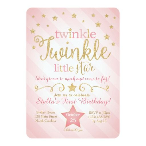 Twinkle Twinkle Little Star Birthday Invitation | Zazzle.com