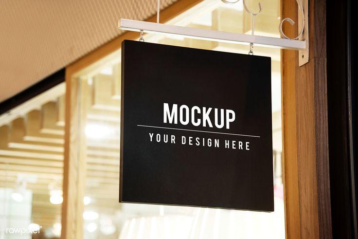 Download Premium Psd Of Mockup Sign Outside Of A Shop 545217 Shop Signs Mockup Logo Restaurant