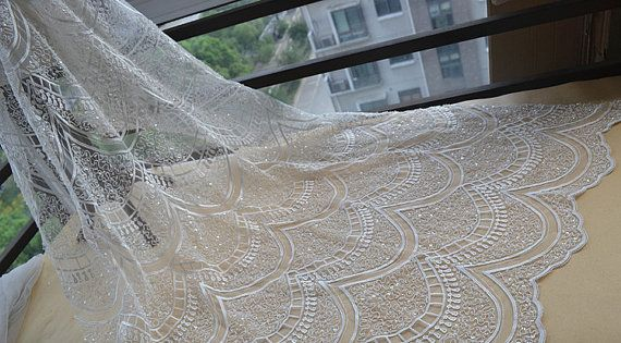 Fashion lace fabricBeaded Lace Fabric Off White Lace