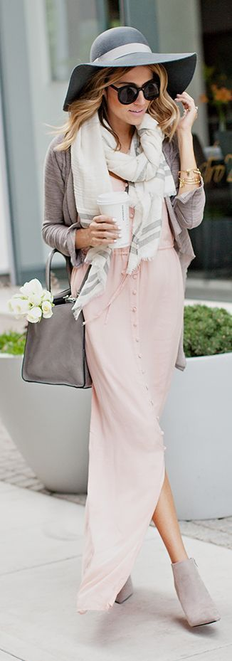 A grey open cardigan and dusty pink shirtdress are a great outfit formula to have in your arsenal. For footwear go down the classic route with grey suede booties.   Shop this look on Lookastic: https://lookastic.com/women/looks/open-cardigan-shirtdress-ankle-boots/13644   — Grey Wool Hat  — Black Sunglasses  — Grey Scarf  — Gold Bracelet  — Grey Open Cardigan  — Grey Leather Satchel Bag  — Pink Shirtdress  — Grey Suede Ankle Boots