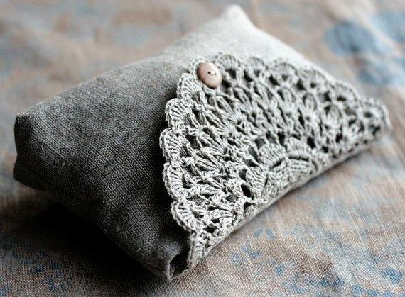 Linen clutch, pouch, purse, makeup bag -- crocheted detail closure #linen #clutch #bag www.loveitsomuch.com
