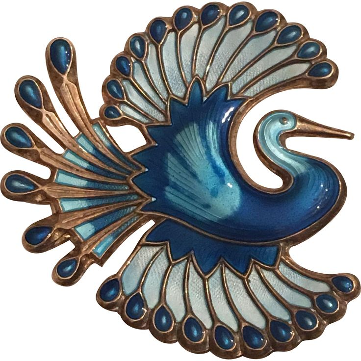 This is a stunning vintage David Andersen sterling silver and blue enamel bird brooch. It is marked David-Andersen Norway Sterling 925s. It is in very