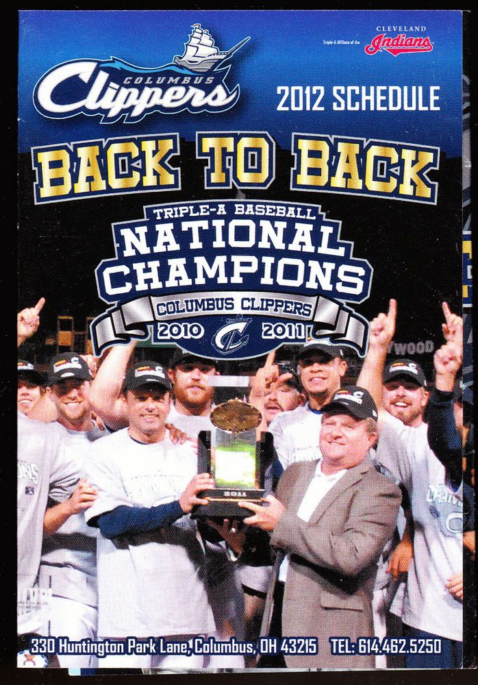 INDIANS 2012 COLUMBUS CLIPPERS  NATIONAL CHAMPIONS BASEBALL POCKET SCHEDULE #PocketSchedules