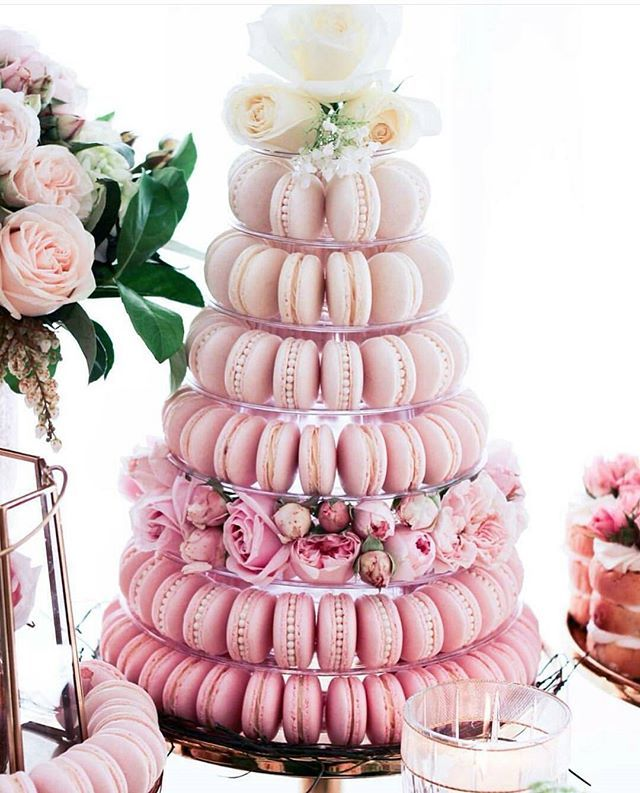 #PRETTY_IN_ PINK ???? ???? (macaroon wedding cakes pretty pastel)