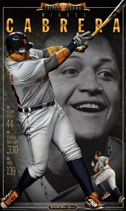 Order your own Miguel Cabrera Triple Crown poster from the Free Press Bookstore.   Miguel Cabrera became the 15th player to win baseball's Triple Crown on Oct. 3, 2012 -- the only player to do so in the last 45 years. The Detroit Tigers slugger joins an elite list that includes Mickey Mantle, Ted Williams and Lou Gehrig.