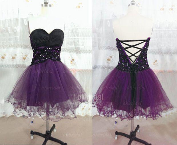 cheap cocktail dress, short prom dress, short dress, purple and black dress, short prom dresses, cheap prom dress, lace prom dresses, RE268