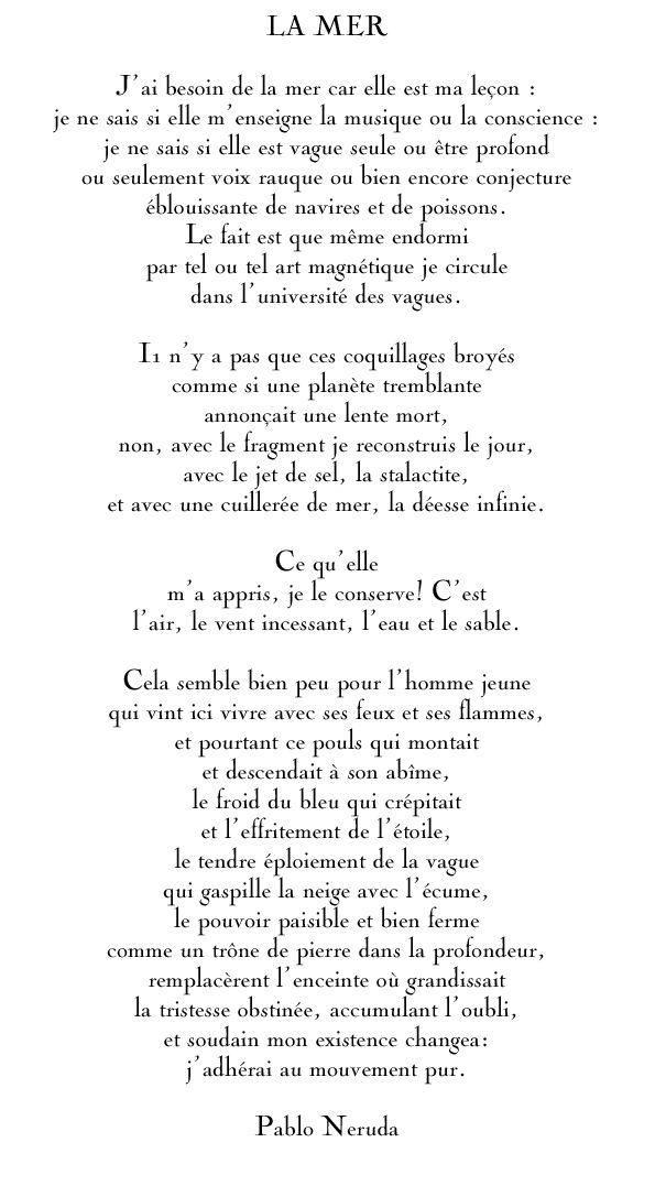 Pablo Neruda / La mer ~ citation français ~