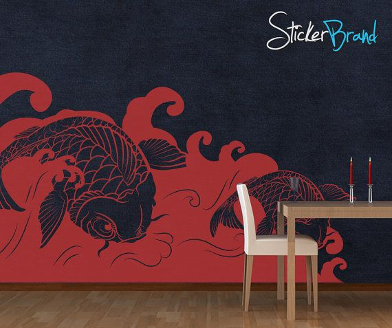 Vinyl Wall Decal Sticker Koi Fish Wave item by Stickerbrand.  Could we just mural something like this...@Sarah Johansson Shankatank