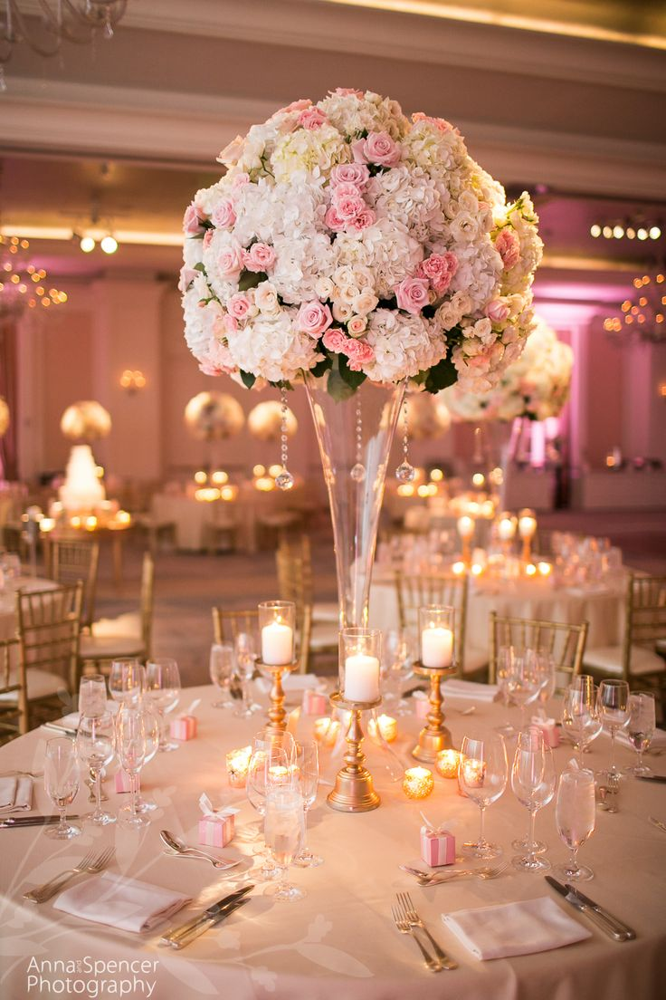 338 best wedding flowers atlanta savannah sea island saint tall pink rose and white hydrangea floral arrangement wedding reception decor in the astor ballroom at the st by andy beach co junglespirit Image collections
