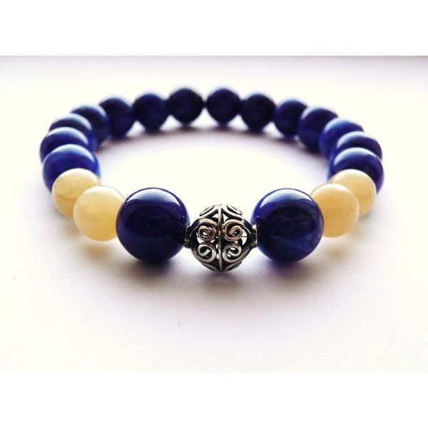 Royal Blue Stretch Bracelet Yellow Bali Sterling by JRockJewelry ($30) via Polyvore