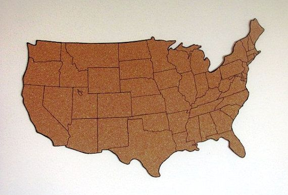 "Corkboard map of US with outline of states, Size S (measures approx 19""x12"") - IN STOCK"