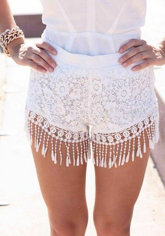 White Hollow-out Tassel Lace Shorts: