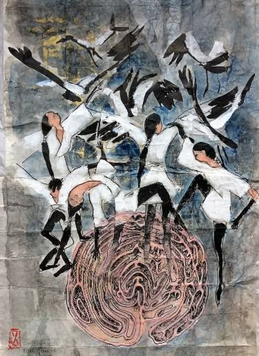 "Saatchi Art Artist Larissa Neslo; Drawing, ""Labyrinth and the crane dance"" #art"