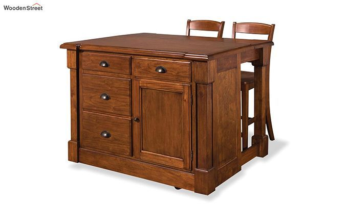 Buy Belle Kitchen Island Honey Finish Online In India Wooden Street Kitchen Island With Seating Kitchen Island Furniture Rustic Kitchen Island