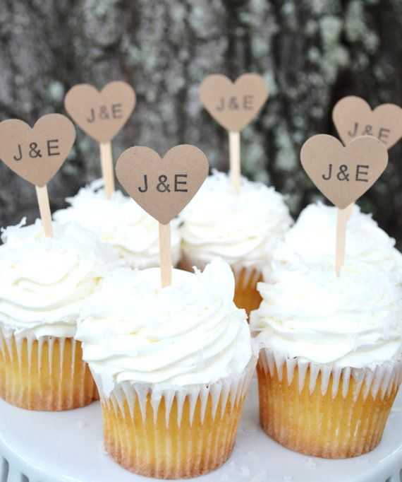 kraft heart wedding cupcake toppers kraft by littlemerriments