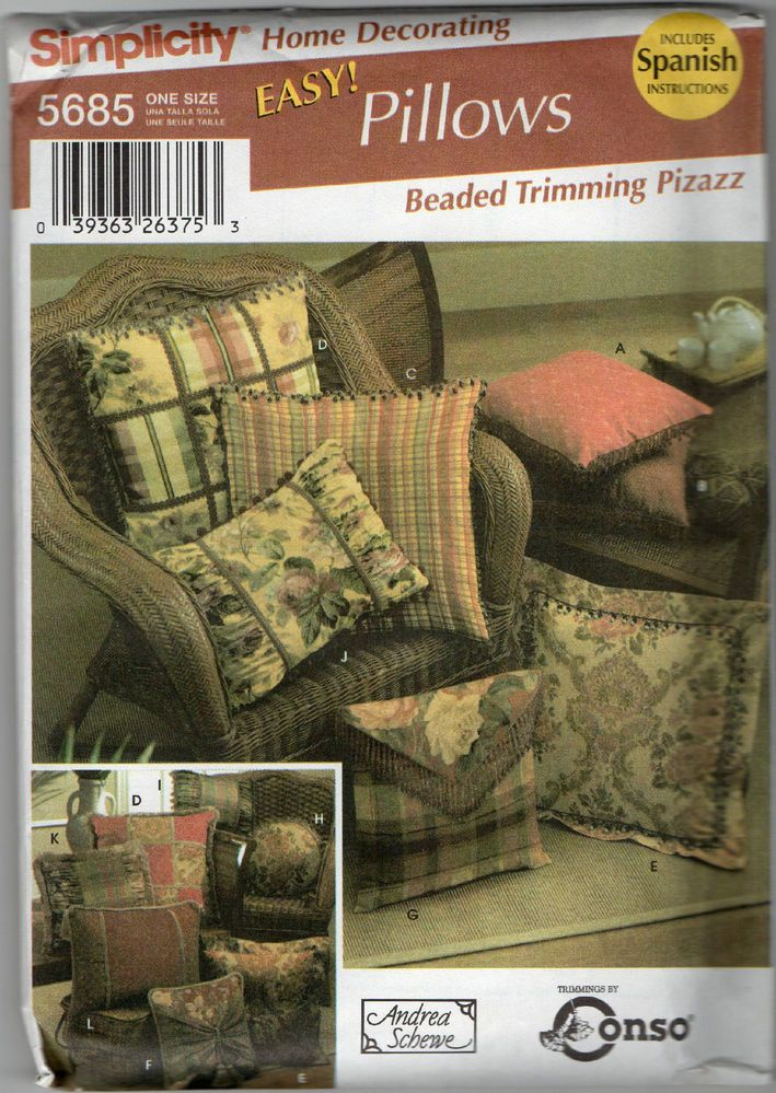 Home Decor Sewing Pattern DECORATIVE THROW PILLOWS w Beaded Trim SIMPLICITY 5685 #Simplicity & 70 best Sewing tutorials images on Pinterest | Sewing tutorials ... pillowsntoast.com