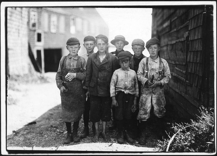 Original Caption:  All these boys are cutters in a Canning Co, August 1911  U.S. National Archives' Local Identifier: 102-LH-2420  Photographer:  Hine, Lewis   Subjects: Child Labor National Child Labor Committee Working Conditions Factory   Persistent URL:  research.archives.gov/description/523450  Repository:  Still Picture Records Section, Special Media Archives Services Division (NWCS-S), National Archives at College Park, 8601 Adelphi Road, College Park, MD, 20740-6001.   For i...