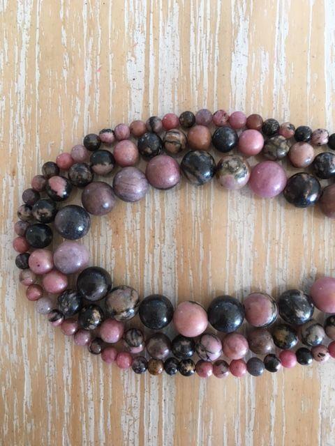Rhodonite - 4, 6 & 8mm beads