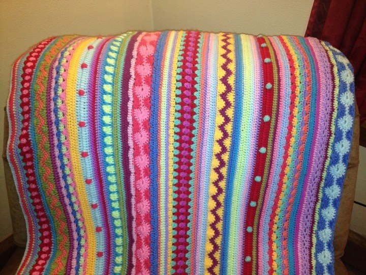 Beautiful mixed stripes afghan ~ PATTERN