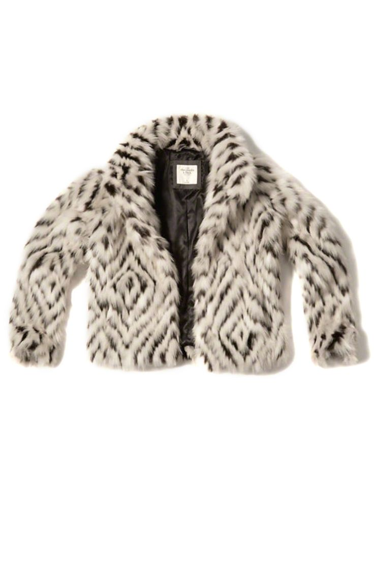 If you haven't heard, the (prom) king of teen stores got an overhaul, and now they make pieces like this ikat-ish faux-fur jacket. Sweet.  Abercrombie & Fitch patterned faux-fur jacket, $72, abercrombie.com.   - MarieClaire.com