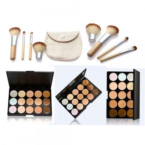 15 Color Concealer Palette & Brushes |Home Goods Galore