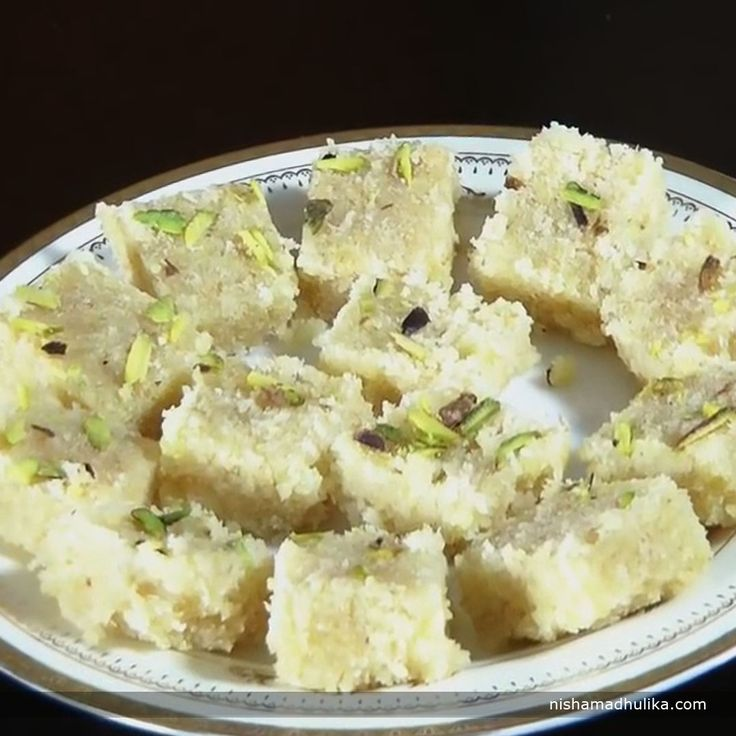 Chewy coconut barfi always leaves an everlasting taste on our taste buds.  Recipe in English- http://indiangoodfood.com/2336-coconut-barfi.html (copy and paste link into browser)  Recipe in Hindi- http://nishamadhulika.com/1450-coconut-barfi-with-condensed-milk.html ( (copy and paste link into browser)