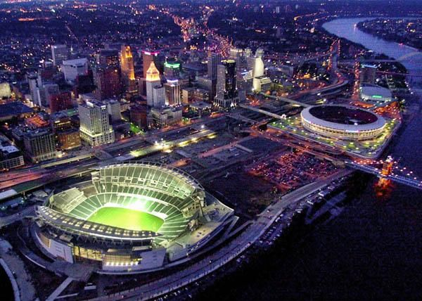Cincinnati Riverfront with Paul Brown Stadium (Bengals) and the old Riverfront Stadium (Reds)