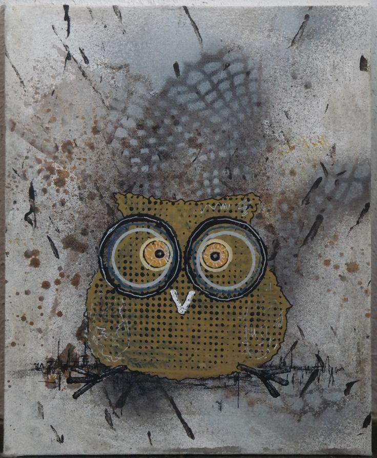 owl tavla uggla Liten tala med en tokig uggla konstnär Maria Wiberg