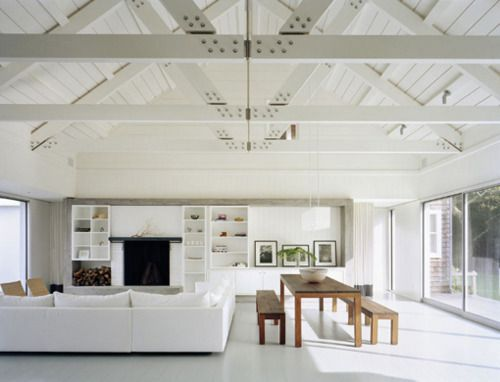 pitched roof and rafters in modern living room
