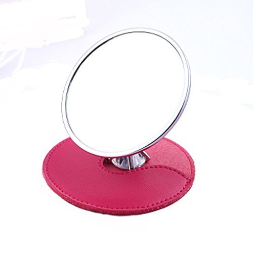 Portable Makeup Mirror With Zircon Ring Keychain Gift Box