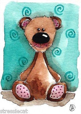 ACEO Original Watercolor Painting Fantasy Folk Art Whimsical Animals Teddy Bear   eBay