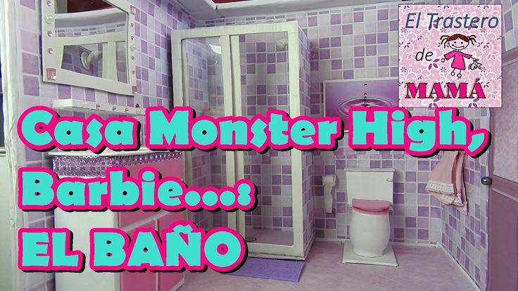 El baño de Casa Monster High, Barbie, Ever After High hecha con material...