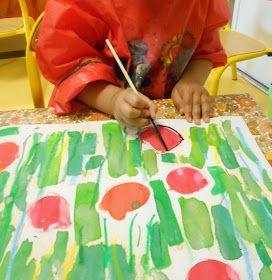 Les travaux de maternelle et autres niveaux...: Très librement inspiré des coquelicots de Claude Monet...fin d'année petite section