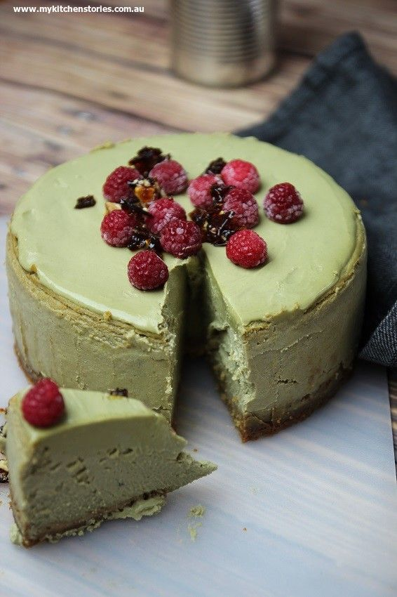 Pistachio Cheesecake with raspberries and praline