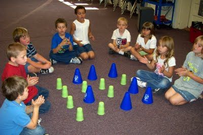 """Rhythm Game ~ The green cups are rests or """"shhh"""" notes. The blue cones are quarter notes. The children help move the cones around the cups to create patterns they like, then """"read"""" the patterns by clapping and resting. First graders really enjoyed this activity and were able to pick up some composition grids and create their own patterns on paper.Music Cup Games, Decor Cooking Music S Ideas, Cups Rhythm, Music Rooms, Quarter Note, Classroom Ideas, Music Note Activities, Music Classroom, Rhythm Games"""