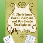 A Christmas Carol Subject and Predicate Worksheets by HappyEdugator | Teachers Pay Teachers