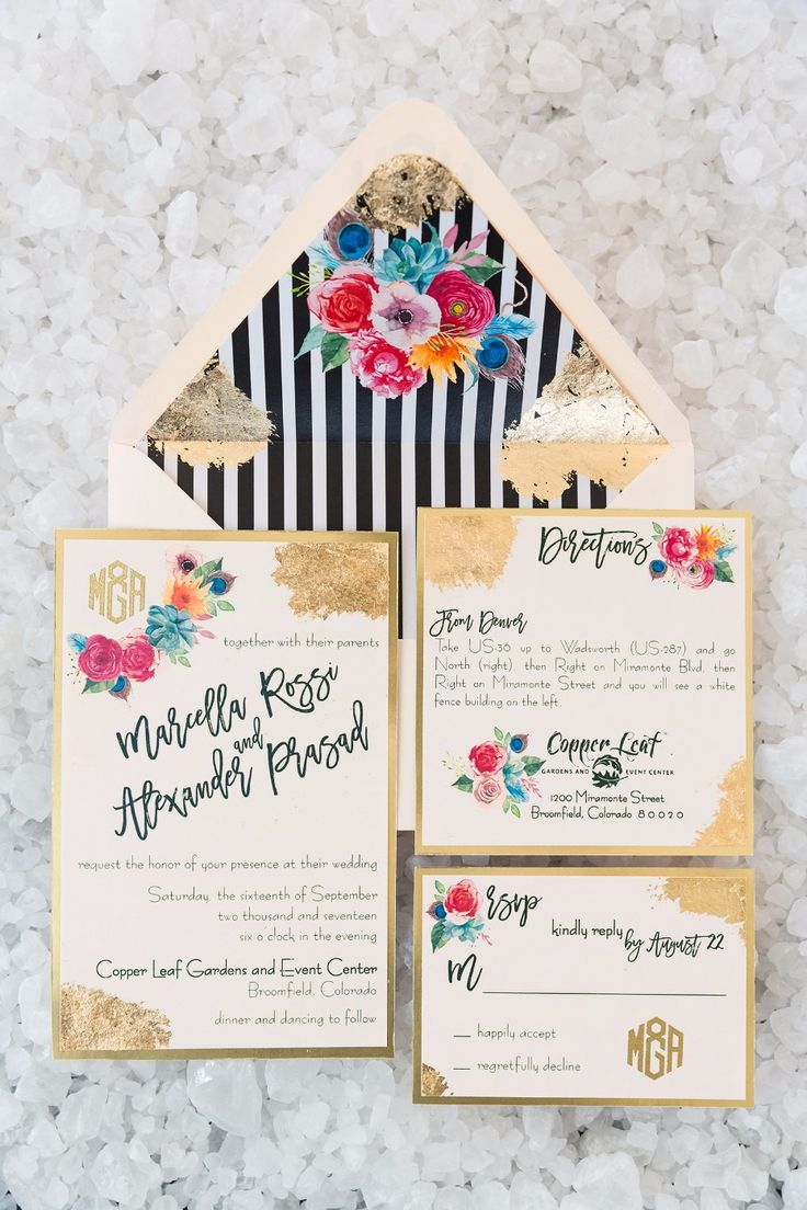 Striped floral gold invitation