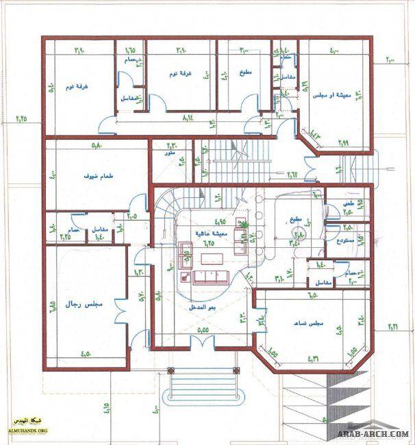 خرائط فيلا في المقدمة و شقق خلفية House Layout Plans Square House Plans Model House Plan