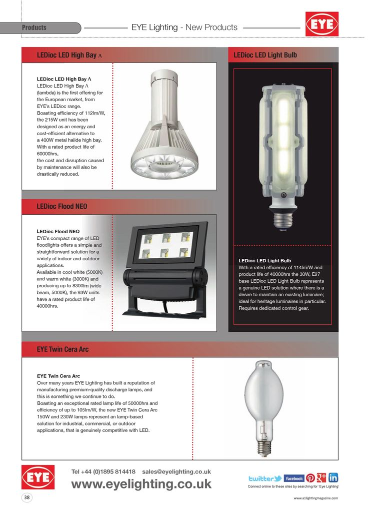 EYE products page, as seen in the May and June issues of A1 Lighting Magazine