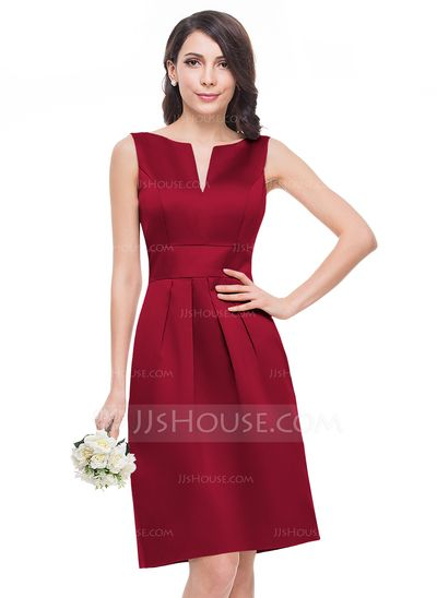 A-Line/Princess V-neck Knee-Length Satin Bridesmaid Dress (007060598)