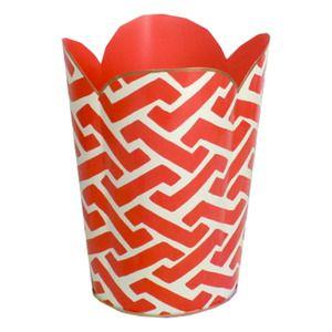 Orange Geometric Wastebasket via Furbish