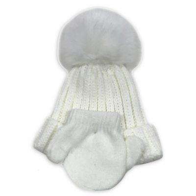 88f169ef314 Curls   Pearls Newborn Faux Fur Hat And Mitten Set In Ivory in 2018 ...