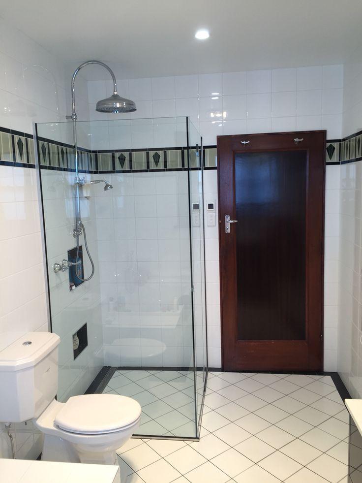 Deco main bathroom, Perrin and Rowe toilet, Nicolazzi tapware, bespoke vanity Genuine Joinery Hobart, handmade tiles Rossetto Hobart