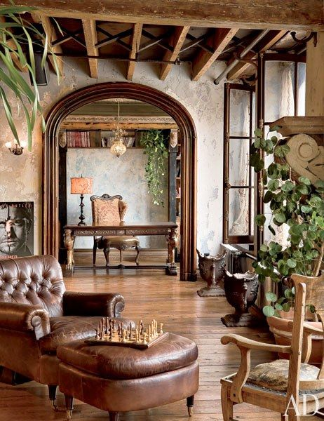 Home Design and Decor , Rustic Interior Design Style For The Home : Rustic Interior  Design Style With Hardwood Floor And Leather Chair With .