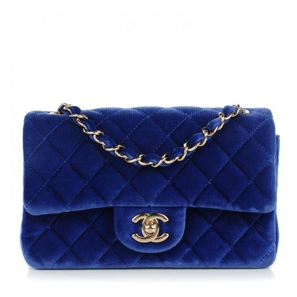 CHANEL Velvet Quilted Rectangular Mini Flap Dark Blue ❤ liked on Polyvore featuring bags, handbags, shoulder bags, quilted chain shoulder bag, chanel handbags, quilted chain purse, shoulder strap handbags and blue purse