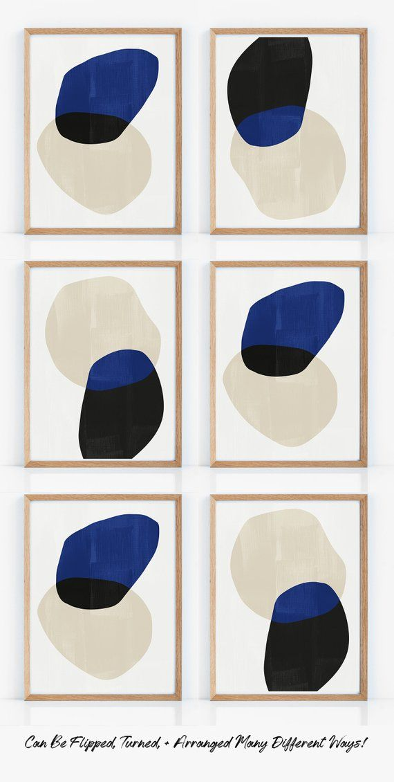 00d1a2157ae88 Cobalt Blue Geometric Art Prints Set