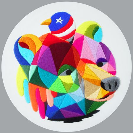 Okuda  San Miguel Bloody Bear - 2014 Wool on canvas 50 cm diameter (round)  Enquiries: info@19karen.com.au