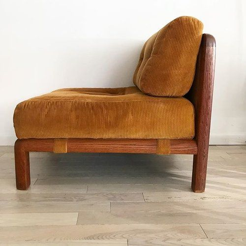 Mid Century Scandinavian Fumed Oak Lounge Chair With Tufted Mustard Brown Corduroy Cushions Scandinavian Lounge Chair Outdoor Dining Chair Cushions Furniture
