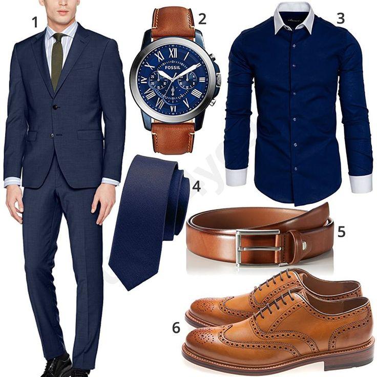 Eleganter Business-Style mit dunkelblauem Esprit Anzug, Fossil Armbanduhr, dunkelblauem Amaci&Sons Hemd, schmaler Krawatte, hellbraunem MLT Ledergürtel und Gordon&Bros Schuhen.